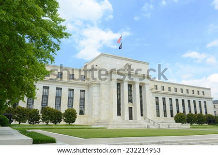 Federal Reserve Building is the headquarter of the Federal Reserve System and 12 Federal Reserve Banks, Washington DC, USA - stock photo