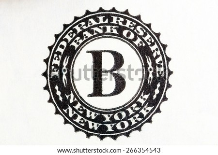 Federal Reserve System sign on two U.S. dollar bill. - stock photo