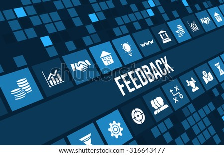 Feedback concept image with business icons and copyspace. - stock photo