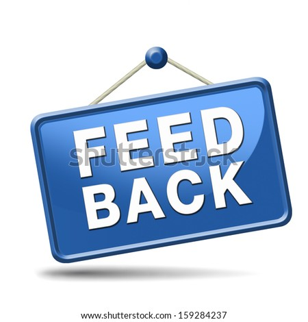feedback icon or button for customer surveys and testimonials. - stock photo