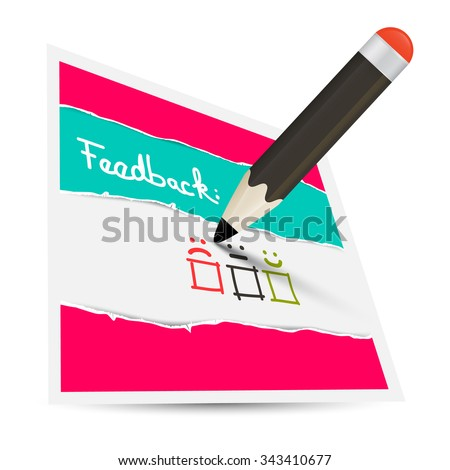 Feedback Paper Card with Pencil and Options - stock photo