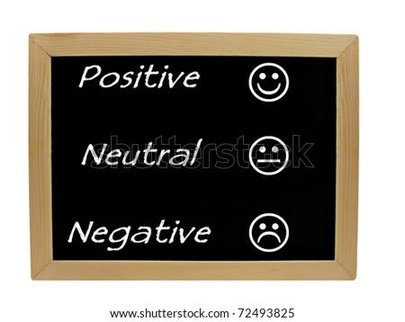 Feedback positive neutral negative on a chalkboard / blackboard - stock photo