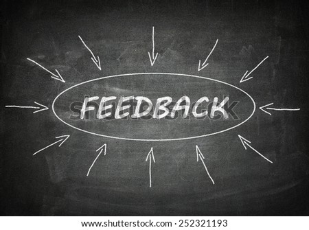 Feedback process information concept on black chalkboard. - stock photo