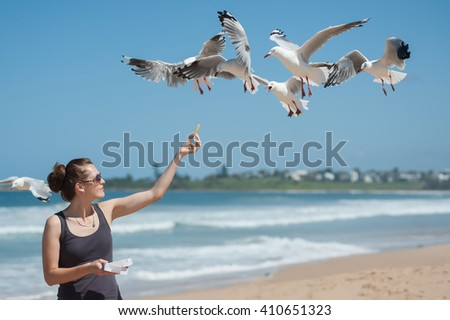 Feeding seagulls - stock photo