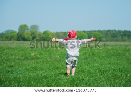 Feel freedom on the green meadow - stock photo