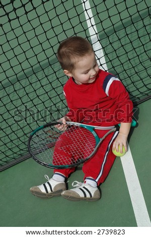 Feeling out the tennis court - stock photo