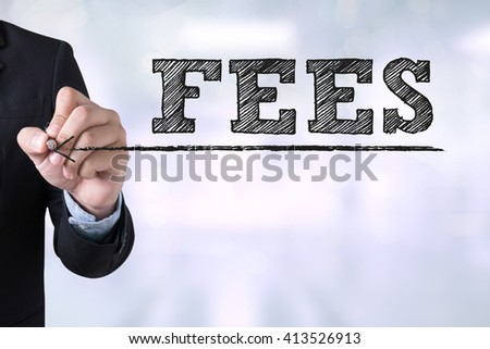 FEES Businessman drawing Landing Page on blurred abstract background - stock photo