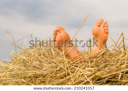 feet in the straw - stock photo