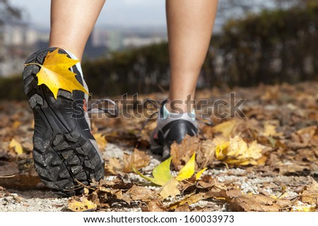 Feet of a runner running in autumn leaves, training for marathon and fitness,  Close-up  - stock photo