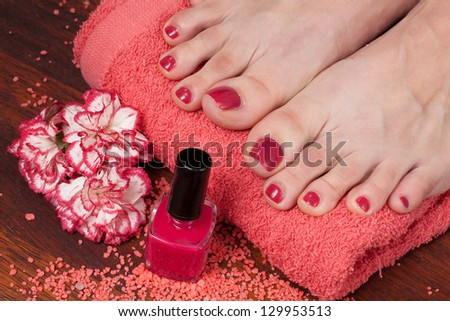 Feet preparation of treatments in the spa salon - stock photo