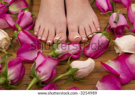 Feet with pink and white roses - stock photo