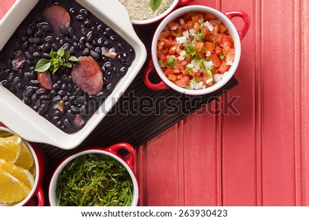 Feijoada, the Brazilian cuisine tradition with space for text - stock photo