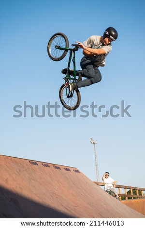 FELGUEIRAS, PORTUGAL - AUGUST 17, 2014: Carlos Iglesias during the 1st Stage of the DVS BMX Series 2014 by Fuel TV. - stock photo