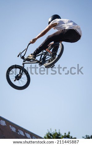 FELGUEIRAS, PORTUGAL - AUGUST 17, 2014: Sauro Agostinho during the 1st Stage of the DVS BMX Series 2014 by Fuel TV. - stock photo