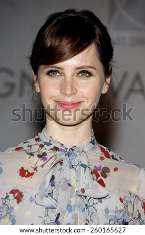 Felicity Jones at the 19th Annual Art Directors Guild Excellence In Production Design Awards held at the Beverly Hilton Hotel in Los Angeles on Saturday January 31, 2015.  - stock photo