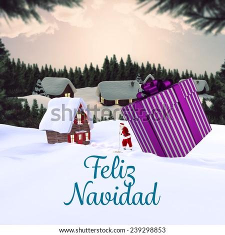 Feliz navidad against cute village in the snow - stock photo