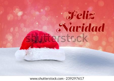 Feliz navidad against red abstract light spot design - stock photo