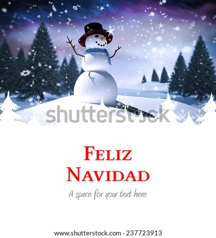 Feliz navidad against snow man - stock photo