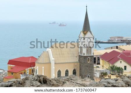 Felsenkirche, an old German church in Luderitz, Namibia - stock photo
