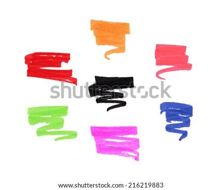 felt pen lines design elements - stock photo