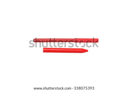Felt-tip pen and pencil red. Isolated on white.                                - stock photo