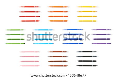 Felt-tip pen marker isolated over the white background, set of ten different colors each in four foreshortenings - stock photo