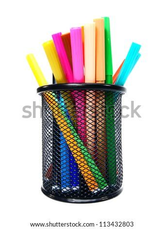 Felt-tip pens in a basket. - stock photo