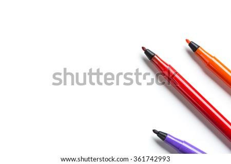 Felt-tip pens isolated - stock photo