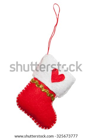 Felt toy for Christmas tree - Santa's boot isolated on white background - stock photo