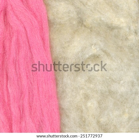 Felt wool. Abstract textured background. Pink and beige, white colors. Woolen - stock photo