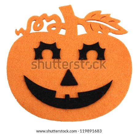 Felted orange and black halloween decoration on white - stock photo