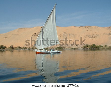 Felucca (river boat) on the Nile, with the Sahara behind - stock photo