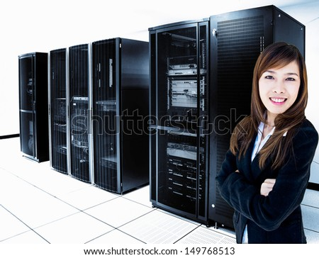 female administrator standing in server room - stock photo