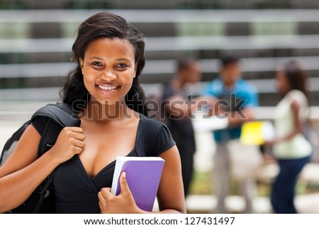 female african american college students on modern campus - stock photo