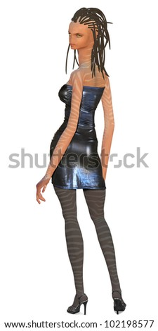Female alien in tight dress - stock photo