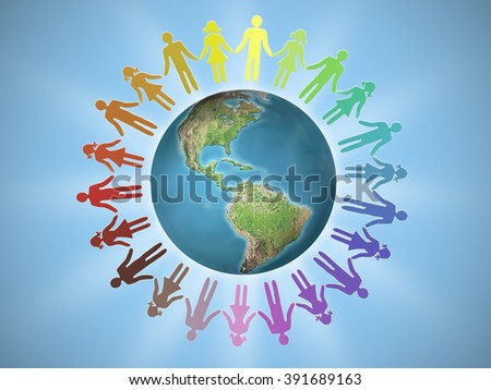 Female and male icons surrounding Earth globe as human unity concept. ??Elements of this image furnished by NASA - stock photo
