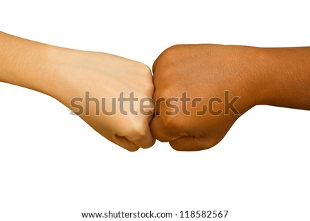 Female and male people giving a fist bump,Fist bump hand sign coherence top view  isolated in white background - stock photo