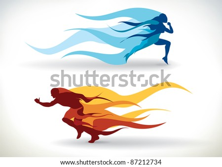 Female and male silhouette running in flames - stock photo