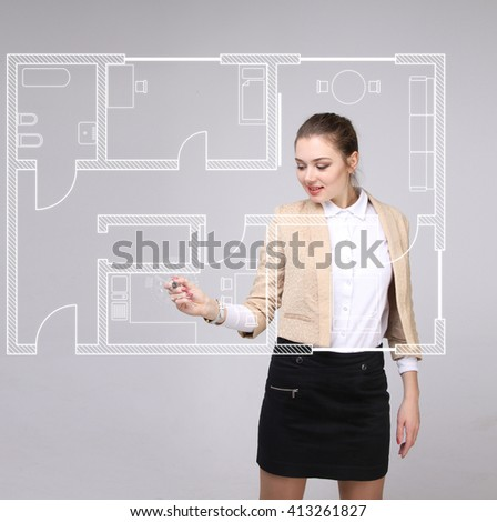 Female architect working with a virtual apartment plan - stock photo
