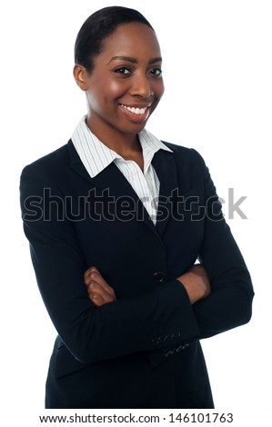 Female assistant posing confidently - stock photo