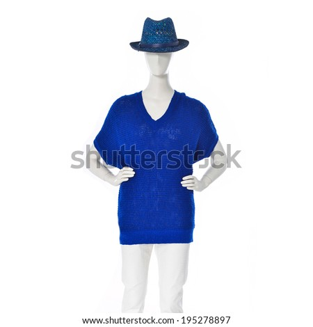 female blue clothing in blue hat on mannequin - stock photo
