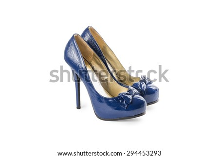 female blue varnished shoes with high heels, stilettos, with bows isolated on white background - stock photo