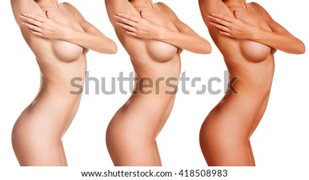 Female body before and after tunning - stock photo