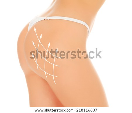 Female body, white background, isolated - stock photo