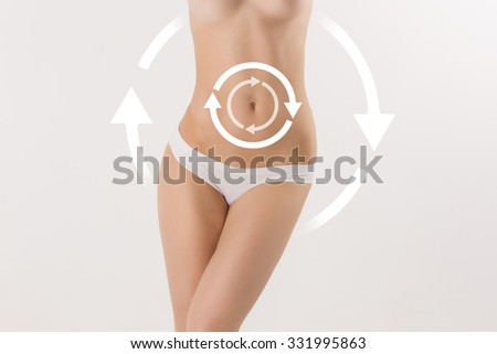 Female body with the drawing arrows Plastic surgery, healthy nutrition, liposuction, sport and cellulite removal concept - stock photo