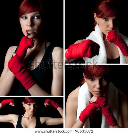 Female boxer over a black background, collage - stock photo