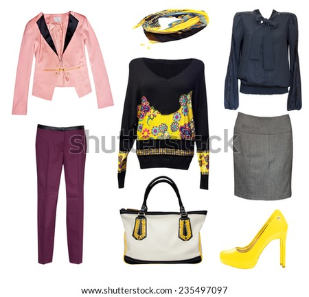 Female bright fashion clothes set collage.Classic office vogue woman wear. - stock photo