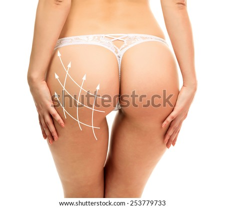Female butt, white background  - stock photo