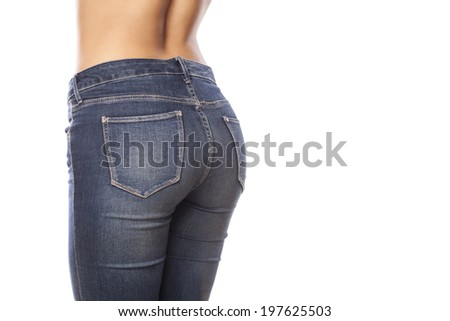 female buttocks in jeans on a white background - stock photo