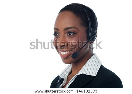 Female call centre executive - stock photo